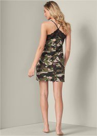 Full back view Camo Lace Trim Sleep Dress