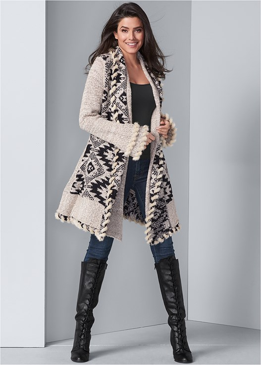 MIXED PRINT DUSTER,SEAMLESS CAMI,COLOR SKINNY JEANS,LACE UP TALL BOOTS