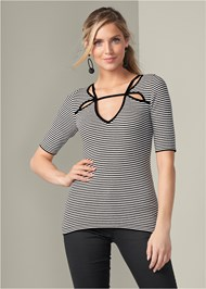 Front View Short Sleeve Sweater