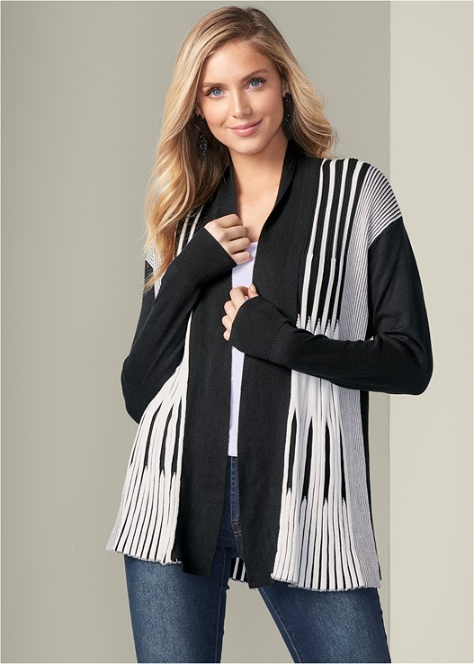 STRIPED CARDIGAN,COLOR SKINNY JEANS