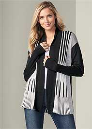 Front View Striped Cardigan