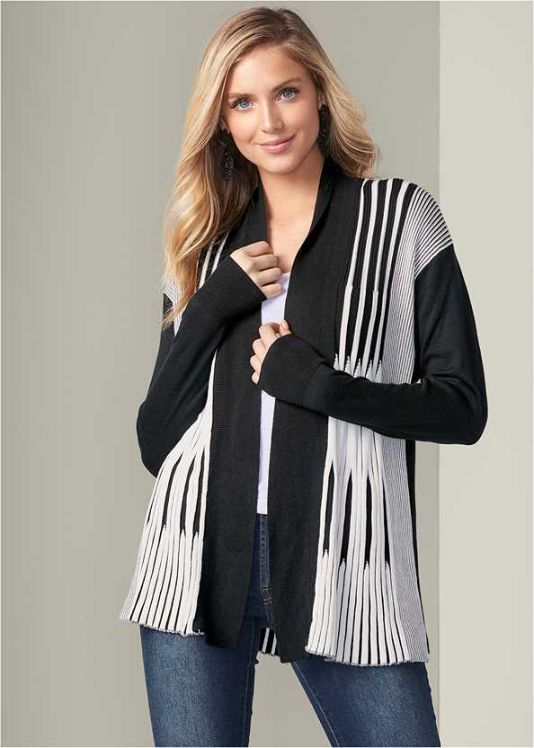 Striped Cardigan,Basic Cami Two Pack,Mid Rise Color Skinny Jeans
