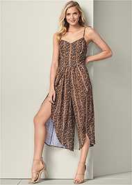Full front view Open Back Python Jumpsuit