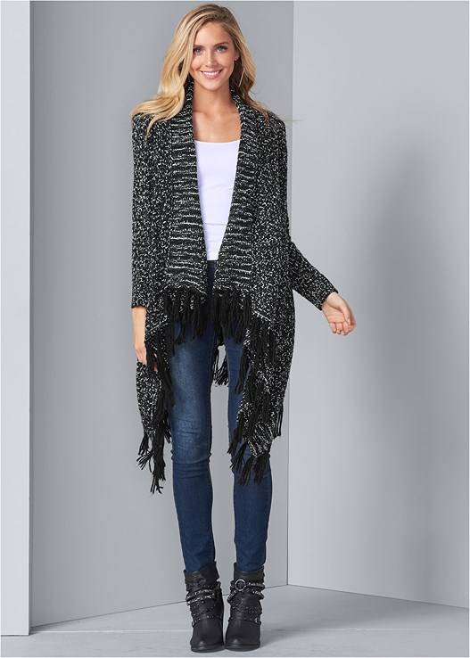 FRINGE CARDIGAN,SEAMLESS CAMI,COLOR SKINNY JEANS