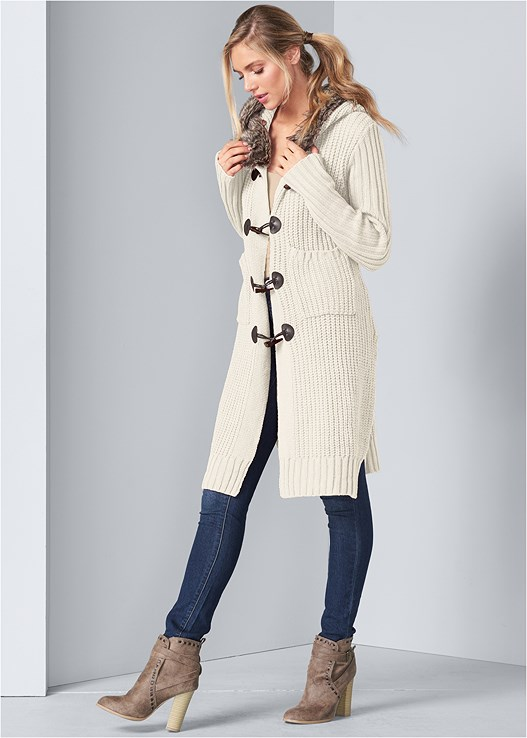 FAUX FUR TRIM HOODED DUSTER,SEAMLESS CAMI,COLOR SKINNY JEANS,WRAP STITCH DETAIL BOOTIES