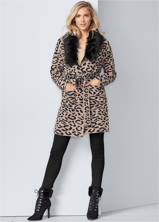 LEOPARD PRINT CARDIGAN,SEAMLESS CAMI,COLOR SKINNY JEANS,FAUX FUR LACE UP BOOTIE