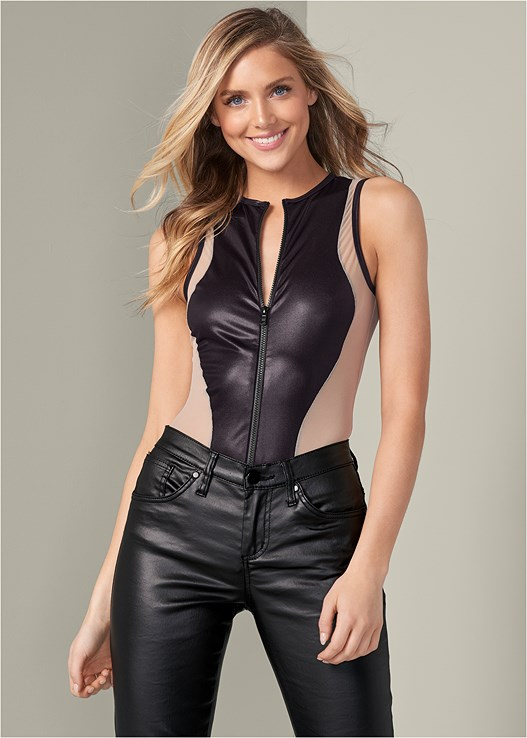 FAUX LEATHER ZIP BODYSUIT,FAUX LEATHER PANTS,HIGH HEEL STRAPPY SANDALS