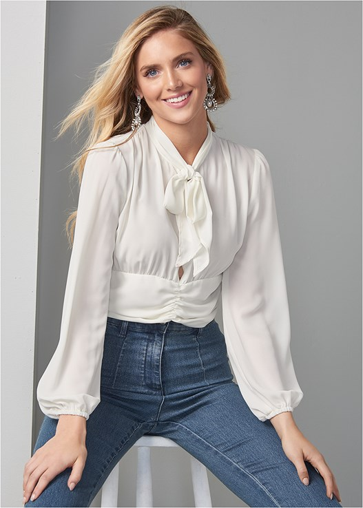 TIE NECK BLOUSE,HIGH WAISTED DENIM JEAN,LONGLINE CONVERTIBLE BRA,HIGH HEEL STRAPPY SANDALS,PEARL DROP EARRINGS