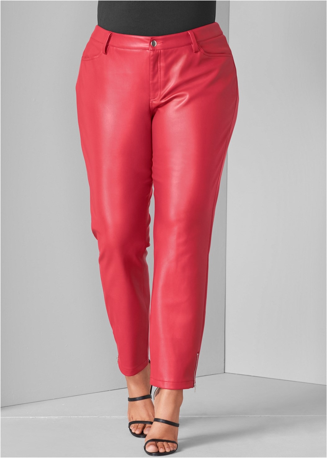 Faux Leather Pants,Seamless Fitted Cut Out Top,High Heel Strappy Sandals,Tiger Detail Earrings