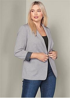 plus size cuff detail blazer