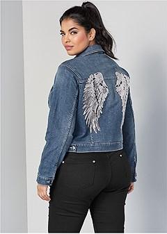 plus size sequin detail jean jacket