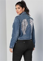 plus size sequin detail jean jacket