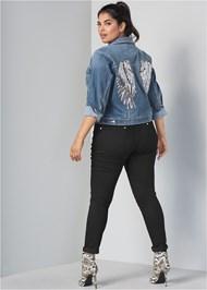 Back View Sequin Detail Jean Jacket