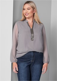 Front View Embellished Blouse