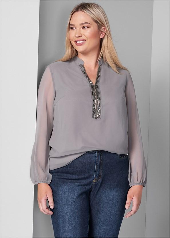 Embellished Blouse,Mid Rise Color Skinny Jeans,Stud Detail Scarf