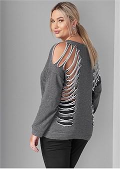 plus size slash detail sweatshirt