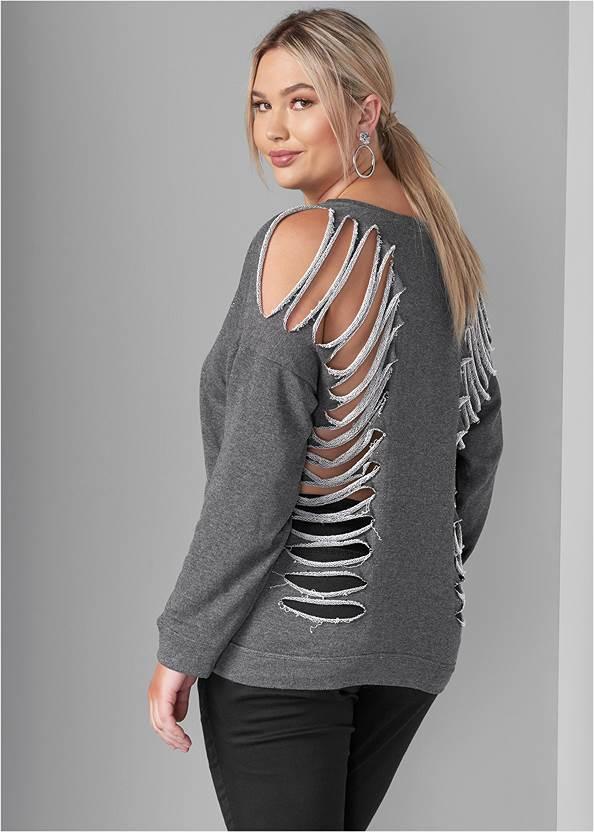 Slash Detail Sweatshirt,Mid Rise Color Skinny Jeans,Tiger Detail Earrings