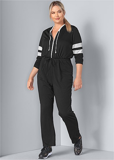 Plus Size Stripe Lounge Jumpsuit