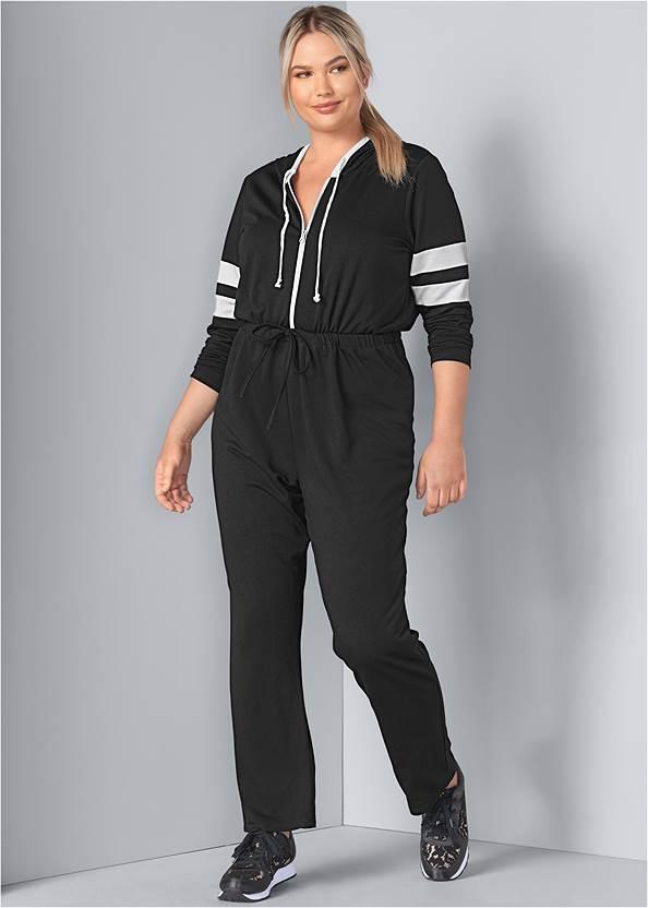 Stripe Lounge Jumpsuit,Rhinestone Net Sneakers,Hoop Detail Earrings,Tassel Detail Handbag