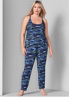 plus size print sleep pant set