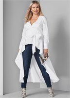 plus size high low tie front blouse