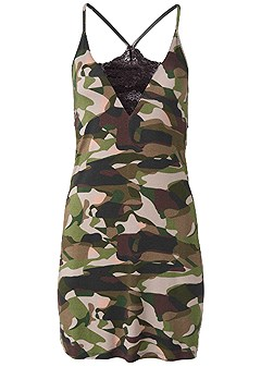 plus size camo lace trim sleep dress