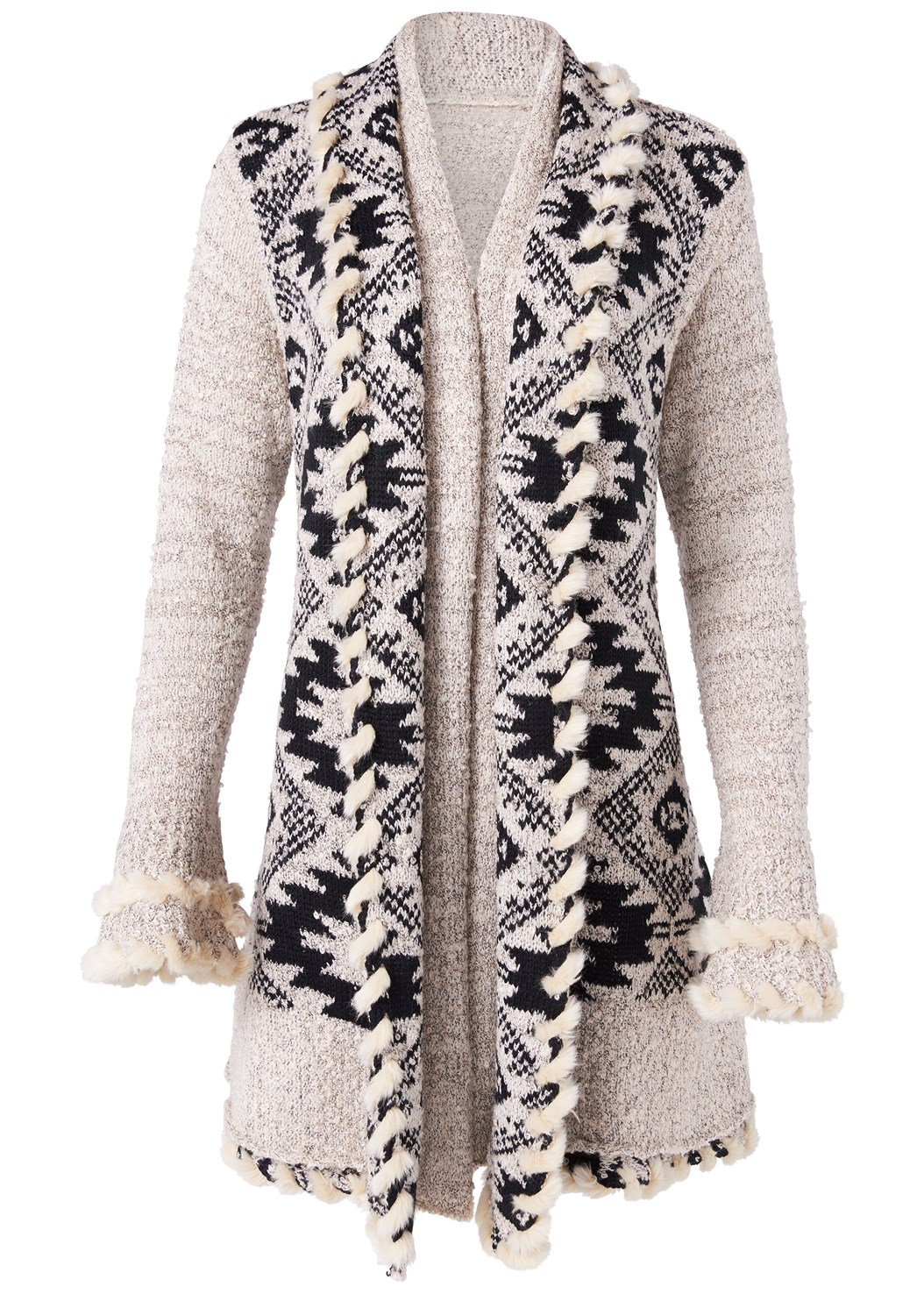Mixed Print Duster,Mid Rise Color Skinny Jeans,Fringe Scarf