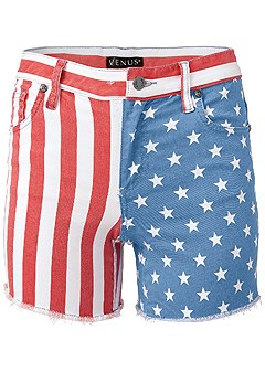 plus size american flag denim shorts