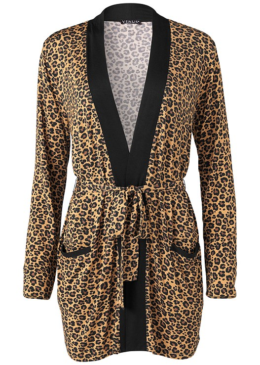ANIMAL PRINT ROBE,SEAMLESS CAMI,BASIC LEGGINGS