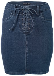 Alternate View Lace Up Denim Skirt