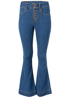 plus size high waisted flare jeans
