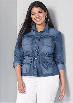 plus size belted denim jacket