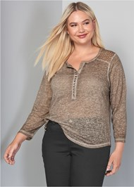 Cropped Front View Crochet Button Henley