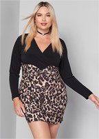 plus size leopard printed dress