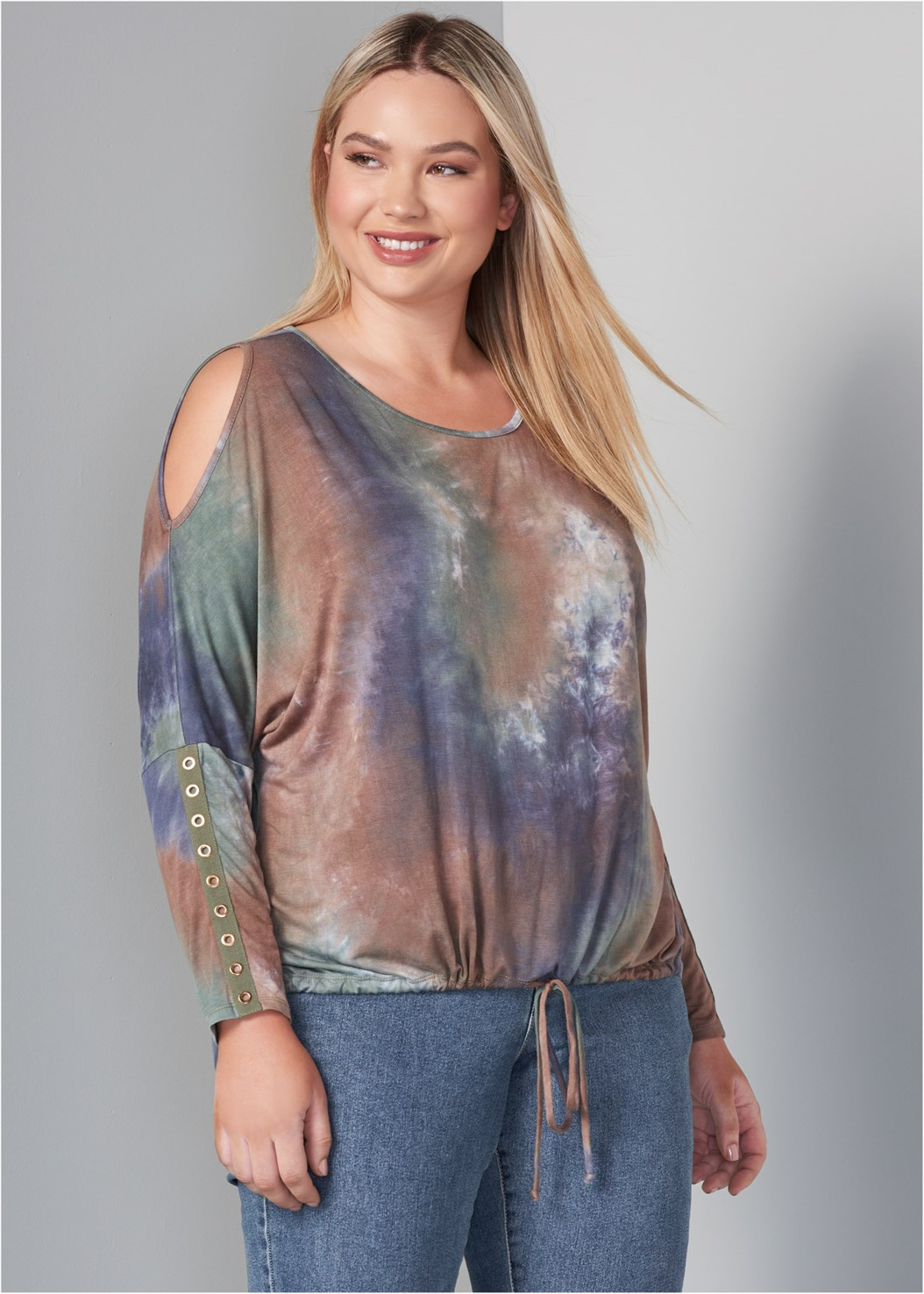 Cold Shoulder Tie Dye Top,Mid Rise Color Skinny Jeans,Wrap Stitch Detail Booties