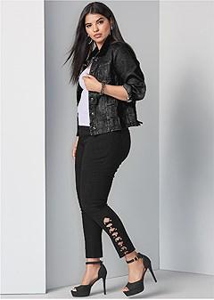 plus size bum lifter latice jeans