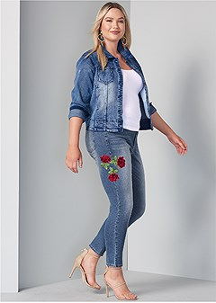 plus size rose embroidered jeans