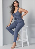 plus size overall denim jumpsuit