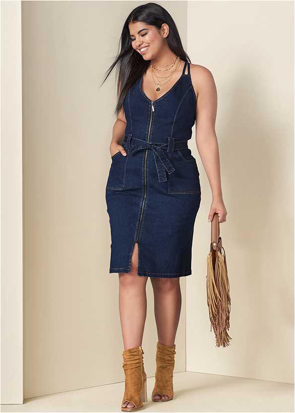 Denim Dress With Zipper,Perforated Ring Heels,Fringe Handbag