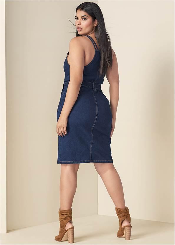 Back View Denim Dress With Zipper