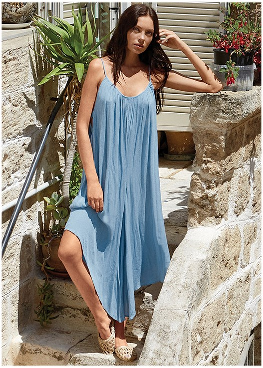 LOOSE COVER-UP JUMPSUIT,GROMMET LACE UP ONE-PIECE,STRAW FRINGE HAT