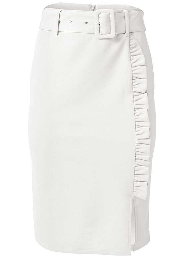 Belted Pencil Skirt,Off The Shoulder Bodysuit,Asymmetrical Strappy Heels