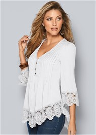 Lace Detail Button Up Top