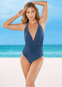 deep v gathered one-piece