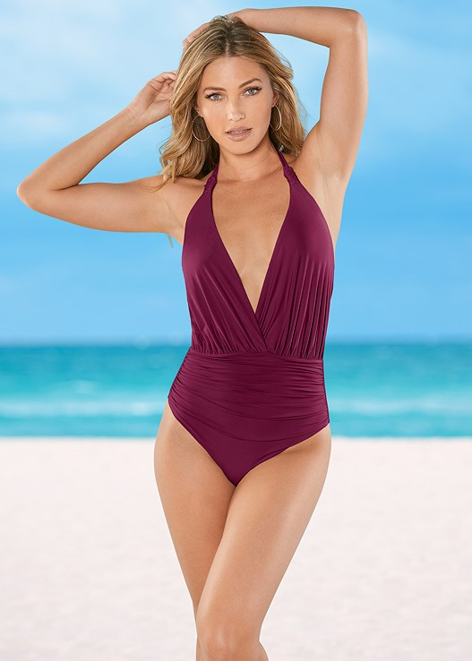 DEEP V GATHERED ONE-PIECE,CROCHET DETAIL COVER-UP