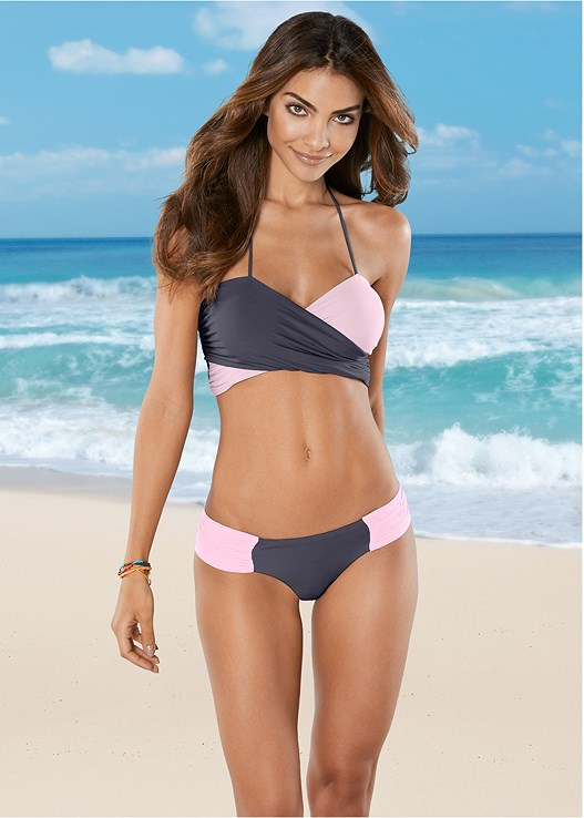 LOW RISE RUCHED BOTTOM,CROSS OVER BANDEAU TOP,ONE SHOULDER BRALETTE,MARILYN PUSH UP BRA TOP,TRIANGLE BIKINI TOP