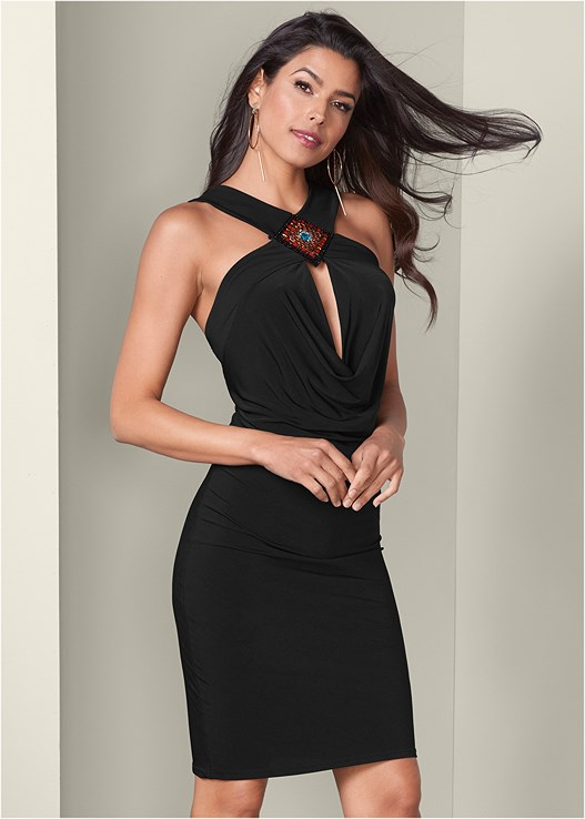EMBELLISHED BODYCON DRESS,STUDDED STRAPPY HEELS,HOOP DETAIL EARRINGS