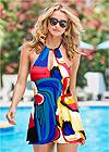 Cropped front view High Neck Swim Dress
