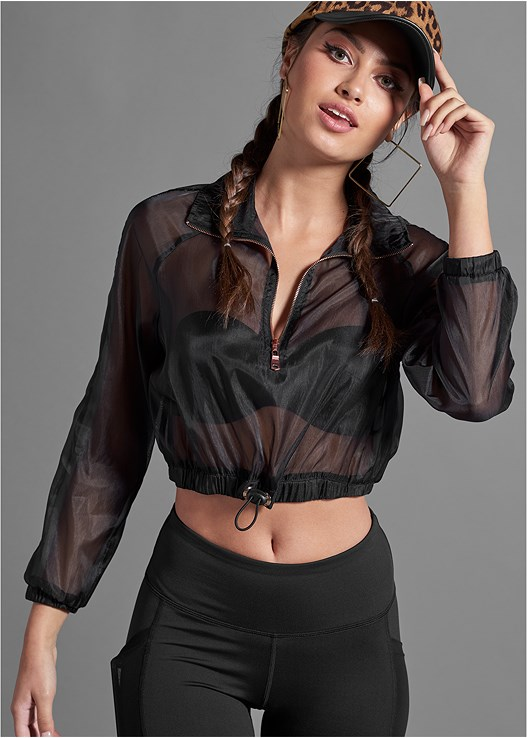 MESH CROPPED PULLOVER,EVERYDAY YOU STRAPLESS BRA,MESH DETAIL LEGGINGS
