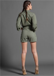 Full back view Belted Utility Romper